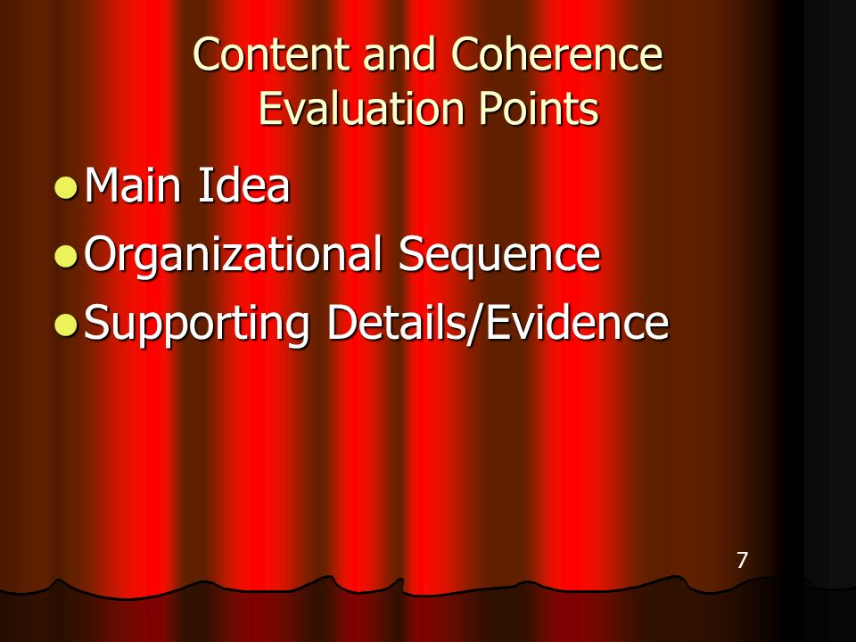 Content and Coherence Evaluation Points Main Idea Main Idea Organizational Sequence Organizational Sequence Supporting Details/Evidence Supporting Details/Evidence 7
