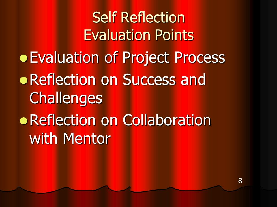 Self Reflection Evaluation Points Evaluation of Project Process Evaluation of Project Process Reflection on Success and Challenges Reflection on Success and Challenges Reflection on Collaboration with Mentor Reflection on Collaboration with Mentor 8