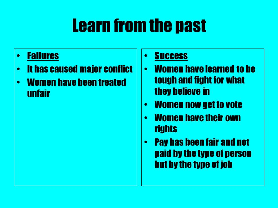 Learn from the past Failures It has caused major conflict Women have been treated unfair Success Women have learned to be tough and fight for what the