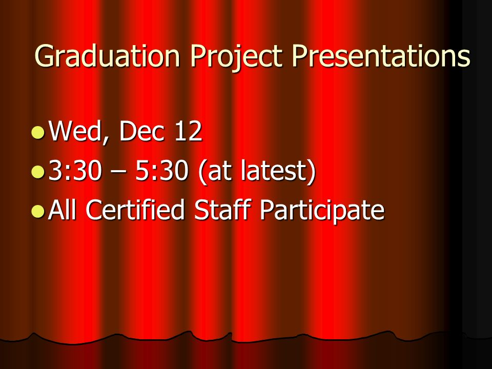 Grad Project Process – Dec 12 Send Student Timer for Student Presenter Send Student Timer for Student Presenter Review Portfolios, Review Procedure as Needed (See Coaching Sheet) – No Students in Room Review Portfolios, Review Procedure as Needed (See Coaching Sheet) – No Students in Room Introduce Yourselves to Students Introduce Yourselves to Students Student Presents (Student Timer Times When Presentation Starts and Stops At End) Student Presents (Student Timer Times When Presentation Starts and Stops At End) Question/Answer SessionNot Included in Time5 Min.