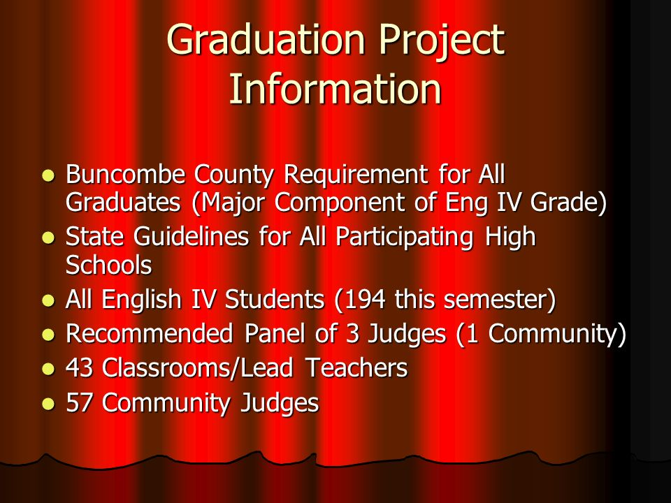 Graduation Project Information Buncombe County Requirement for All Graduates (Major Component of Eng IV Grade) Buncombe County Requirement for All Graduates (Major Component of Eng IV Grade) State Guidelines for All Participating High Schools State Guidelines for All Participating High Schools All English IV Students (194 this semester) All English IV Students (194 this semester) Recommended Panel of 3 Judges (1 Community) Recommended Panel of 3 Judges (1 Community) 43 Classrooms/Lead Teachers 43 Classrooms/Lead Teachers 57 Community Judges 57 Community Judges