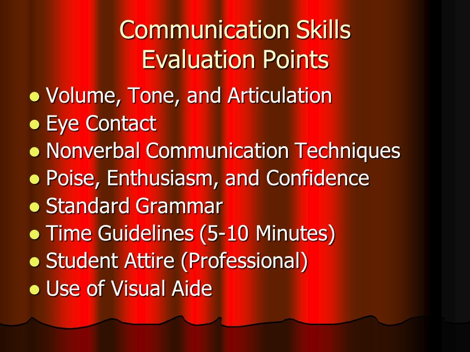 Communication Skills Evaluation Points Volume, Tone, and Articulation Volume, Tone, and Articulation Eye Contact Eye Contact Nonverbal Communication Techniques Nonverbal Communication Techniques Poise, Enthusiasm, and Confidence Poise, Enthusiasm, and Confidence Standard Grammar Standard Grammar Time Guidelines (5-10 Minutes) Time Guidelines (5-10 Minutes) Student Attire (Professional) Student Attire (Professional) Use of Visual Aide Use of Visual Aide