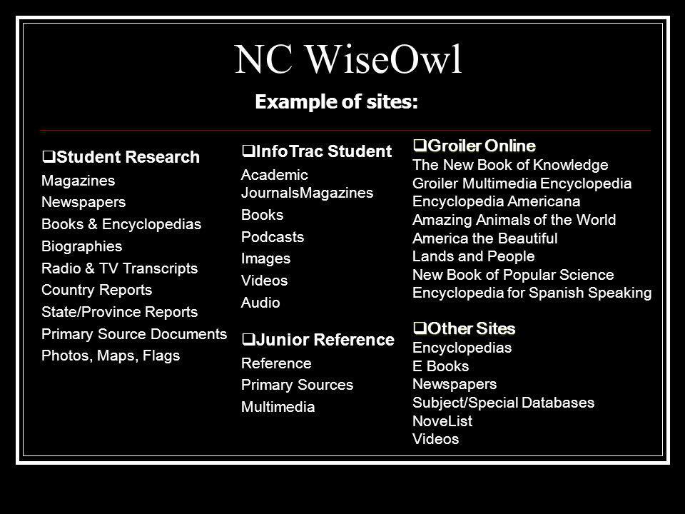 NC WiseOwl Example of sites: Student Research Magazines Newspapers Books & Encyclopedias Biographies Radio & TV Transcripts Country Reports State/Province Reports Primary Source Documents Photos, Maps, Flags InfoTrac Student Academic JournalsMagazines Books Podcasts Images Videos Audio Other Sites Other Sites Encyclopedias E Books Newspapers Subject/Special Databases NoveList Videos Junior Reference Reference Primary Sources Multimedia Groiler Online Groiler Online The New Book of Knowledge Groiler Multimedia Encyclopedia Encyclopedia Americana Amazing Animals of the World America the Beautiful Lands and People New Book of Popular Science Encyclopedia for Spanish Speaking