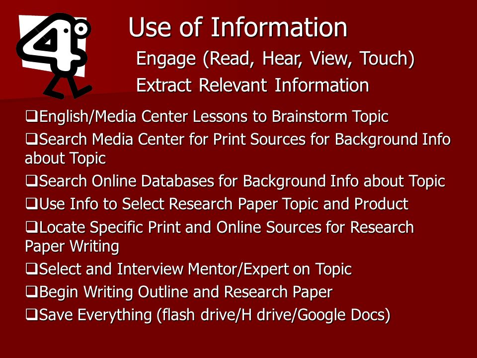 Use of Information Engage (Read, Hear, View, Touch) Extract Relevant Information English/Media Center Lessons to Brainstorm Topic English/Media Center Lessons to Brainstorm Topic Search Media Center for Print Sources for Background Info about Topic Search Media Center for Print Sources for Background Info about Topic Search Online Databases for Background Info about Topic Search Online Databases for Background Info about Topic Use Info to Select Research Paper Topic and Product Use Info to Select Research Paper Topic and Product Locate Specific Print and Online Sources for Research Paper Writing Locate Specific Print and Online Sources for Research Paper Writing Select and Interview Mentor/Expert on Topic Select and Interview Mentor/Expert on Topic Begin Writing Outline and Research Paper Begin Writing Outline and Research Paper Save Everything (flash drive/H drive/Google Docs) Save Everything (flash drive/H drive/Google Docs)
