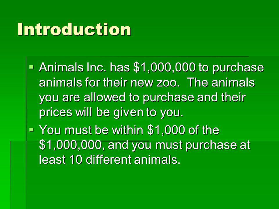 Introduction Animals Inc. has $1,000,000 to purchase animals for their new zoo.