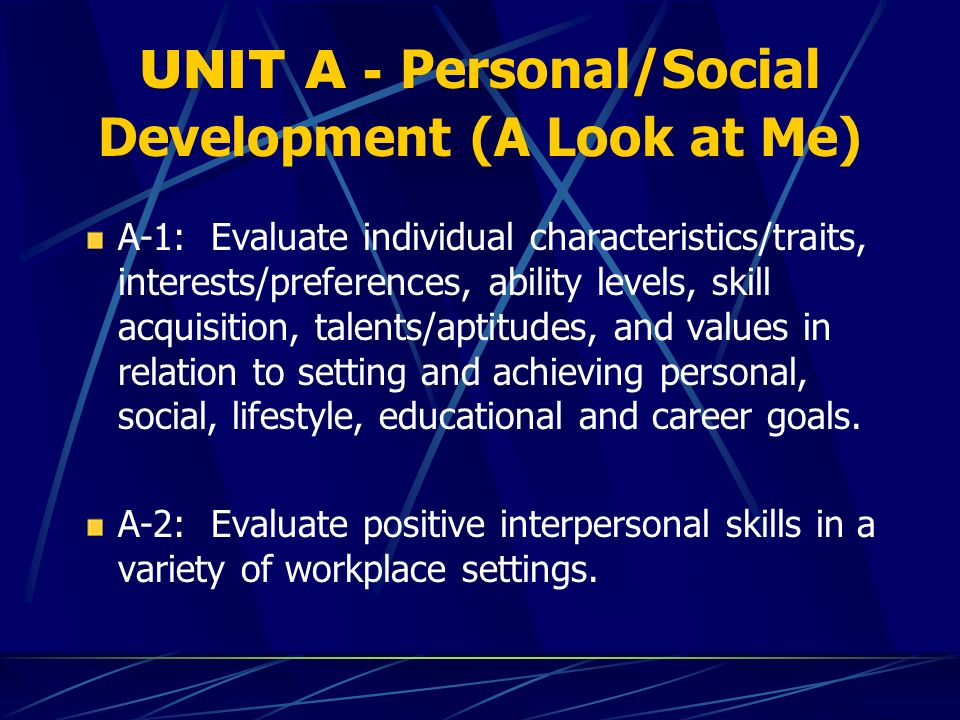 UNIT A - Personal/Social Development (A Look at Me) A-1: Evaluate individual characteristics/traits, interests/preferences, ability levels, skill acquisition, talents/aptitudes, and values in relation to setting and achieving personal, social, lifestyle, educational and career goals.