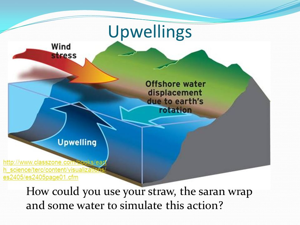 Upwellings How could you use your straw, the saran wrap and some water to simulate this action? http://www.classzone.com/books/eart h_science/terc/con