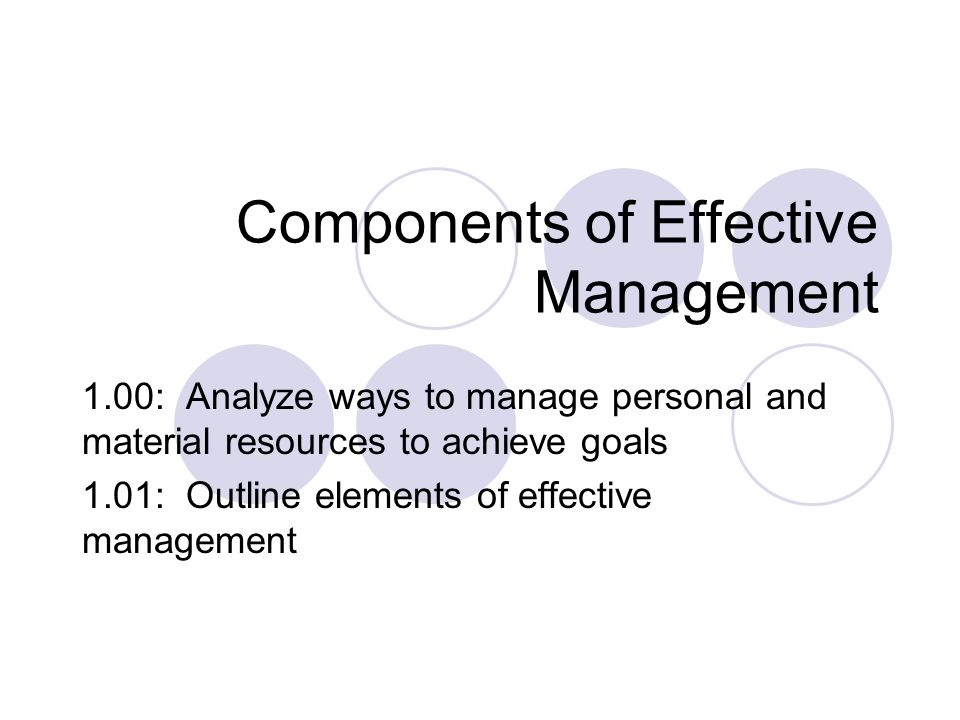Components of Effective Management 1.00: Analyze ways to manage personal and material resources to achieve goals 1.01: Outline elements of effective m