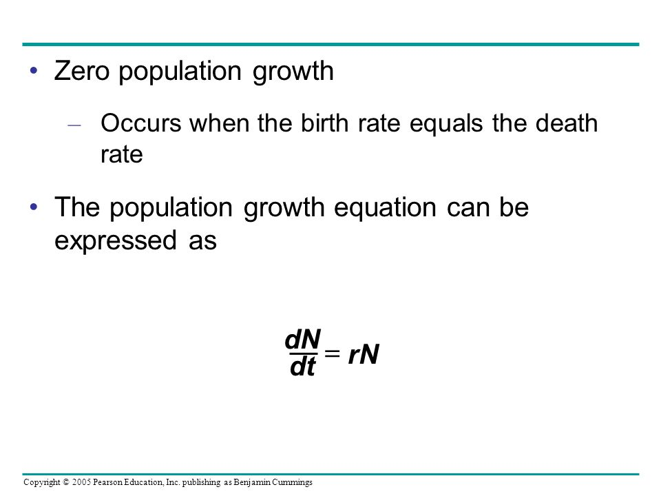 Copyright © 2005 Pearson Education, Inc. publishing as Benjamin Cummings Zero population growth – Occurs when the birth rate equals the death rate The
