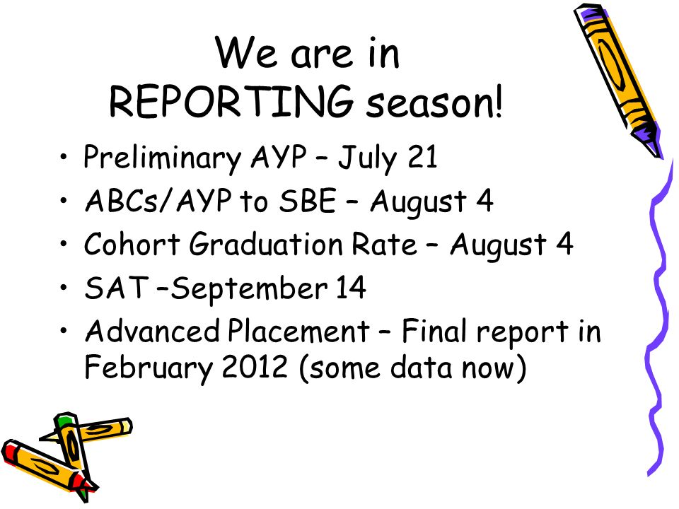 We are in REPORTING season.