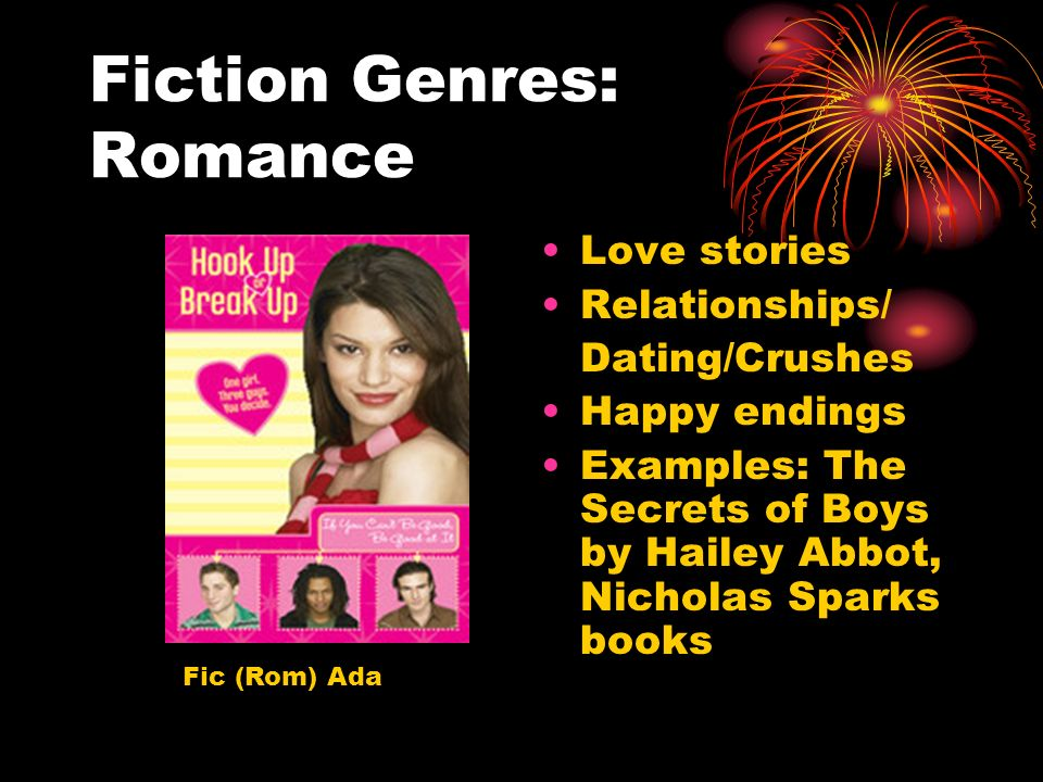 Fiction Genres: Romance Love stories Relationships/ Dating/Crushes Happy endings Examples: The Secrets of Boys by Hailey Abbot, Nicholas Sparks books Fic (Rom) Ada