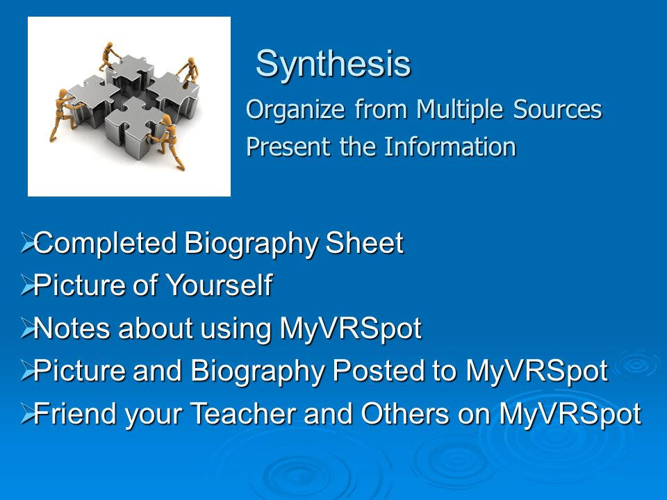 Synthesis Organize from Multiple Sources Present the Information Completed Biography Sheet Completed Biography Sheet Picture of Yourself Picture of Yourself Notes about using MyVRSpot Notes about using MyVRSpot Picture and Biography Posted to MyVRSpot Picture and Biography Posted to MyVRSpot Friend your Teacher and Others on MyVRSpot Friend your Teacher and Others on MyVRSpot