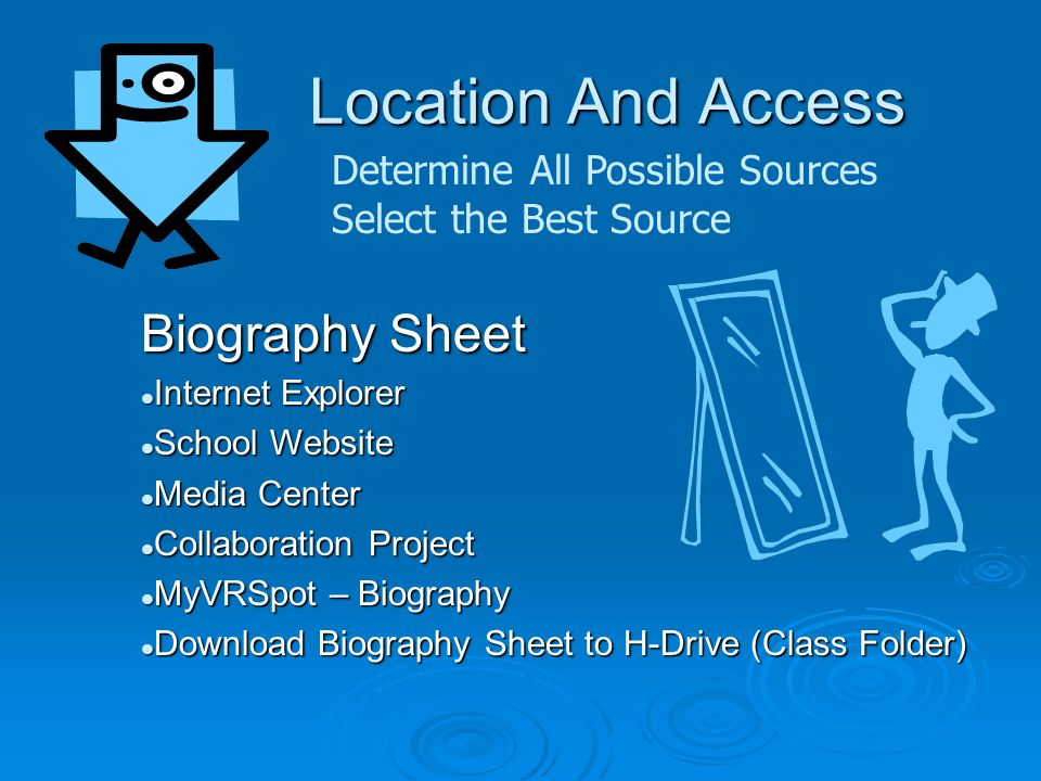 Location And Access Determine All Possible Sources Select the Best Source Biography Sheet Internet Explorer Internet Explorer School Website School Website Media Center Media Center Collaboration Project Collaboration Project MyVRSpot – Biography MyVRSpot – Biography Download Biography Sheet to H-Drive (Class Folder) Download Biography Sheet to H-Drive (Class Folder)