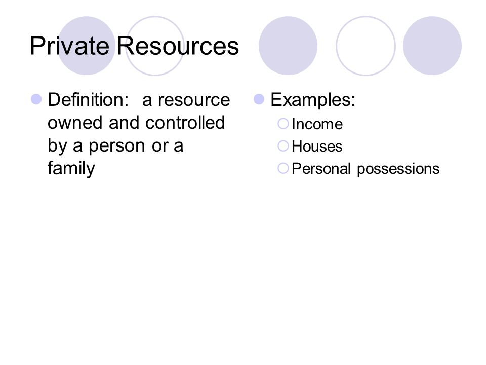 Private Resources Definition: a resource owned and controlled by a person or a family Examples: Income Houses Personal possessions