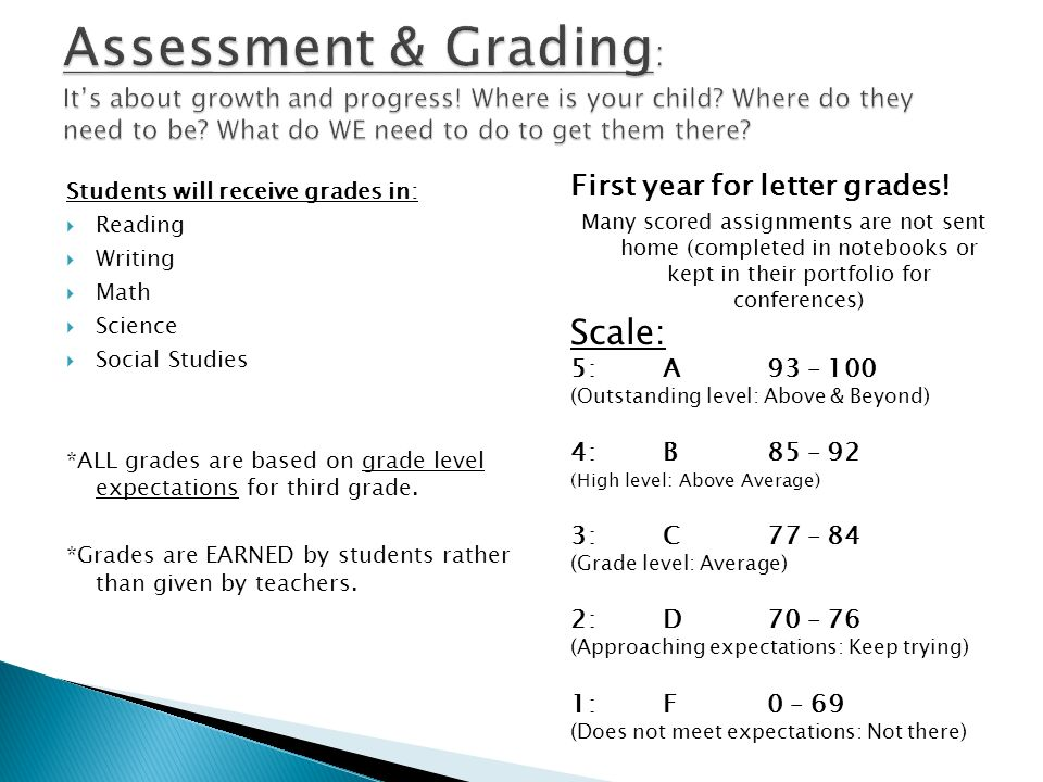 First year for letter grades! Many scored assignments are not sent home (completed in notebooks or kept in their portfolio for conferences) Scale: 5: