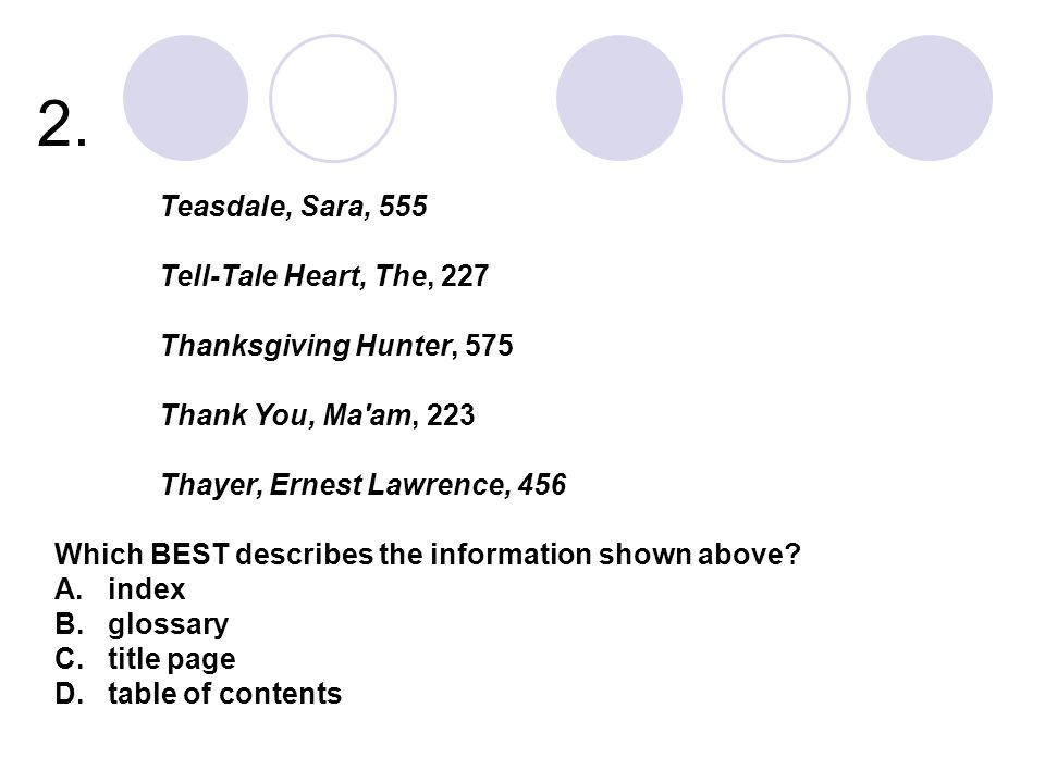 2. Teasdale, Sara, 555 Tell-Tale Heart, The, 227 Thanksgiving Hunter, 575 Thank You, Ma'am, 223 Thayer, Ernest Lawrence, 456 Which BEST describes the