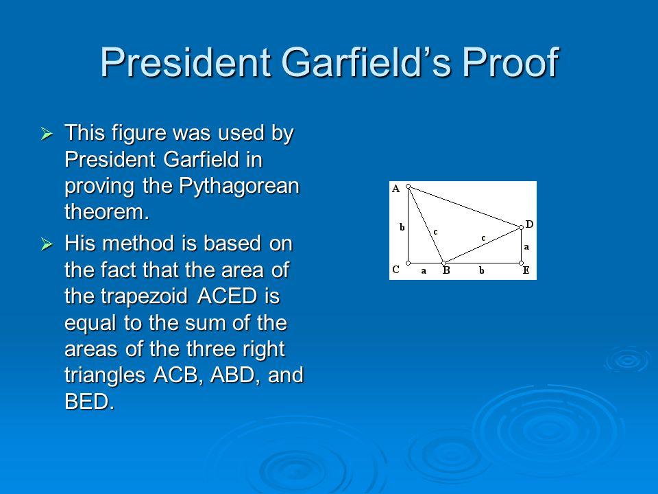 President Garfields Proof This figure was used by President Garfield in proving the Pythagorean theorem. This figure was used by President Garfield in