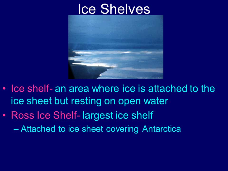Ice Shelves Ice shelf- an area where ice is attached to the ice sheet but resting on open water Ross Ice Shelf- largest ice shelf –Attached to ice she