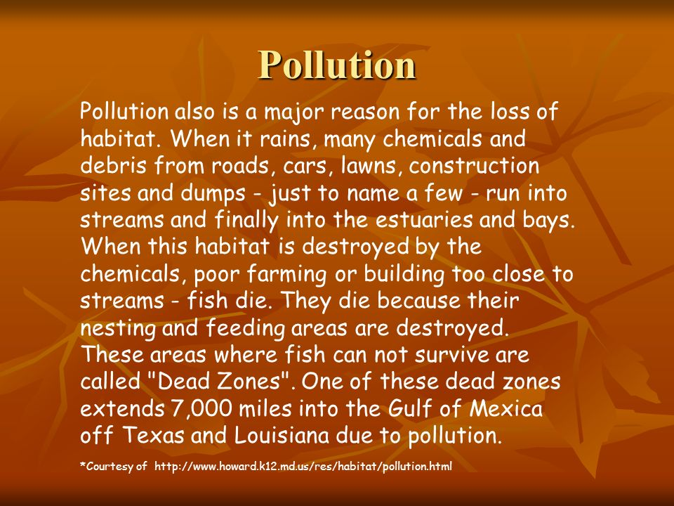 Pollution Pollution also is a major reason for the loss of habitat. When it rains, many chemicals and debris from roads, cars, lawns, construction sit