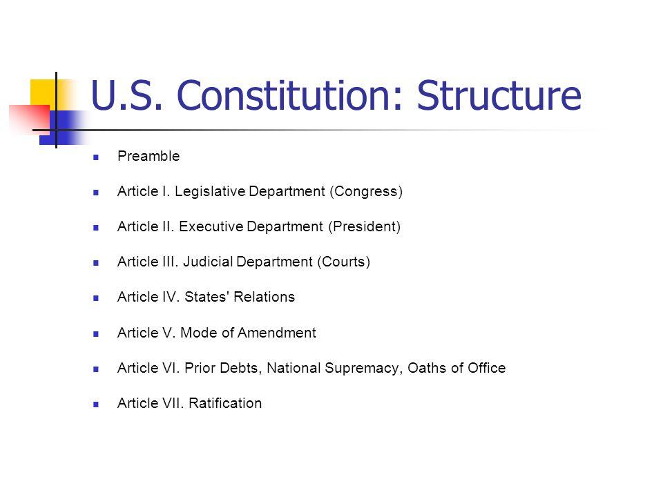 U.S. Constitution: Structure Preamble Article I. Legislative Department (Congress) Article II. Executive Department (President) Article III. Judicial