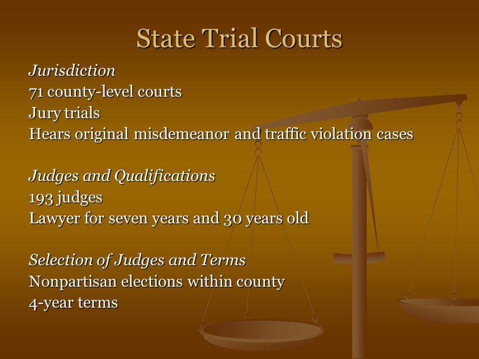 State Trial Courts Jurisdiction 71 county-level courts Jury trials Hears original misdemeanor and traffic violation cases Judges and Qualifications 19