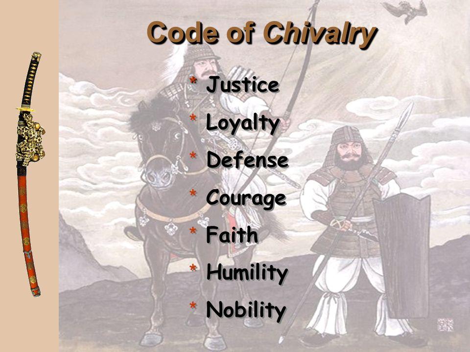 Code of Bushido * Fidelity * Politeness * Virility * Simplicity * Fidelity * Politeness * Virility * Simplicity