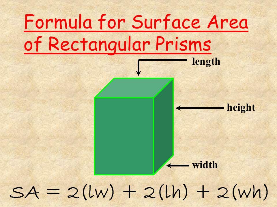 Find the surface area. 6 cm 3 cm 2 cm Now add up the answers 12 cm 2 12 cm 2 36 cm 2 36 cm 2 +24 cm 2 +24 cm 2 72 cm 2