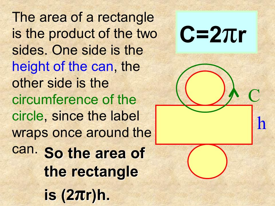 Area of a circle is πr 2. Since there are 2 circles that make up the net of a cylinder then, the area is 2(πr 2 ).