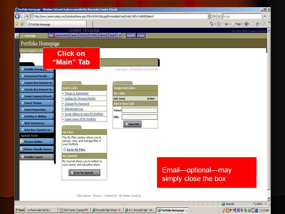 Click on Main Tab Emailoptionalmay simply close the box