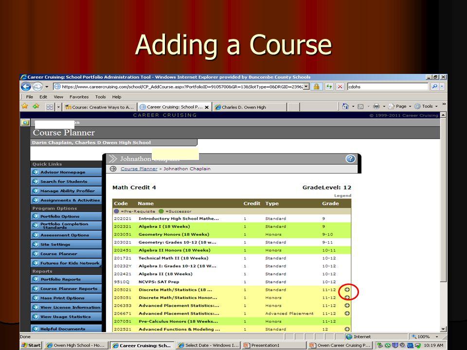 Adding a Course