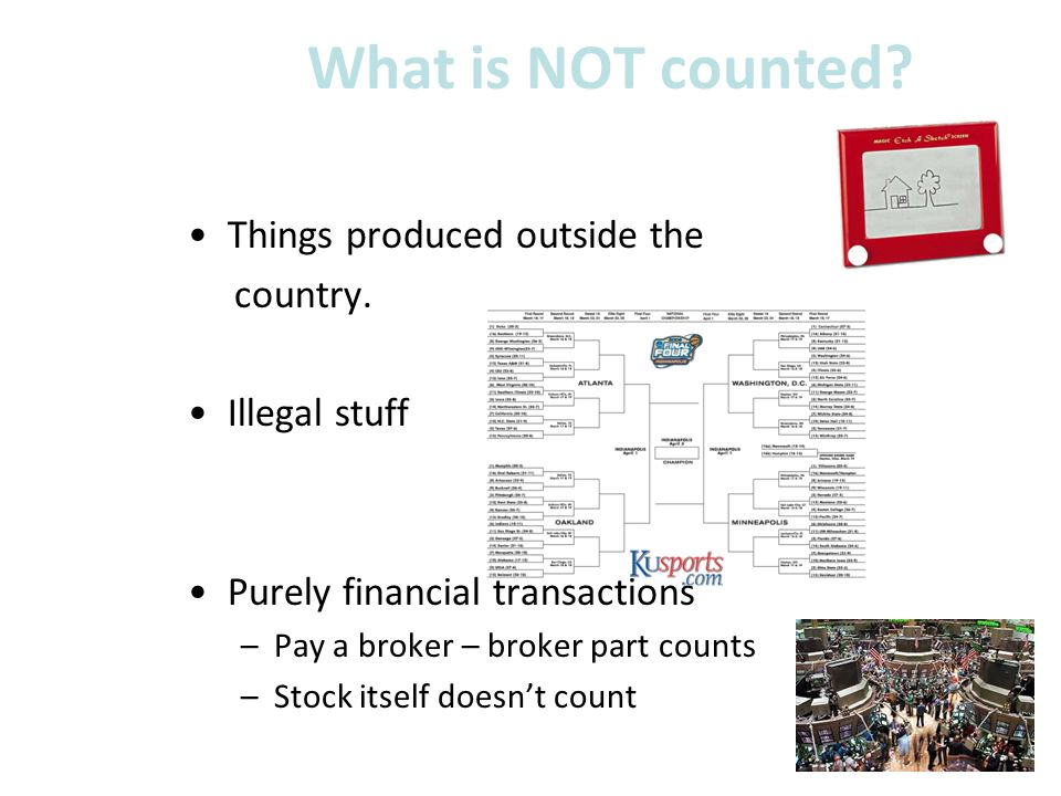 What is NOT counted.Things produced outside the country.
