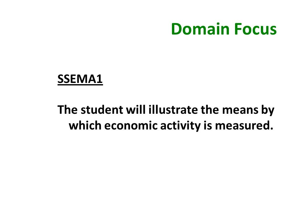 Domain Focus SSEMA1 The student will illustrate the means by which economic activity is measured.