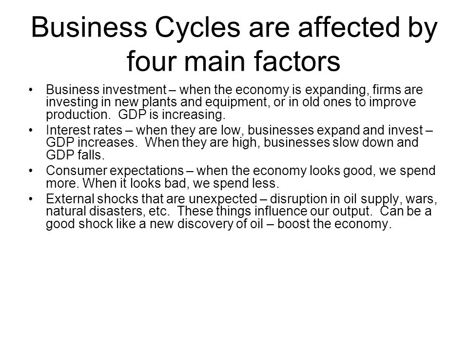 Business Cycles are affected by four main factors Business investment – when the economy is expanding, firms are investing in new plants and equipment, or in old ones to improve production.