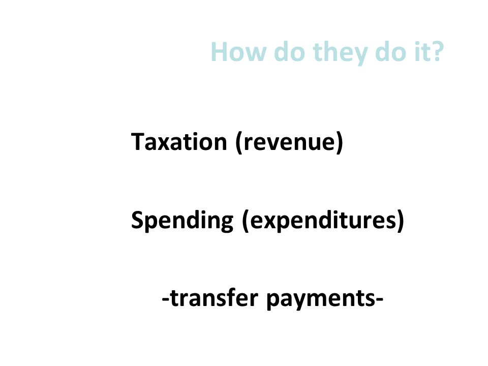 How do they do it? Taxation (revenue) Spending (expenditures) -transfer payments-