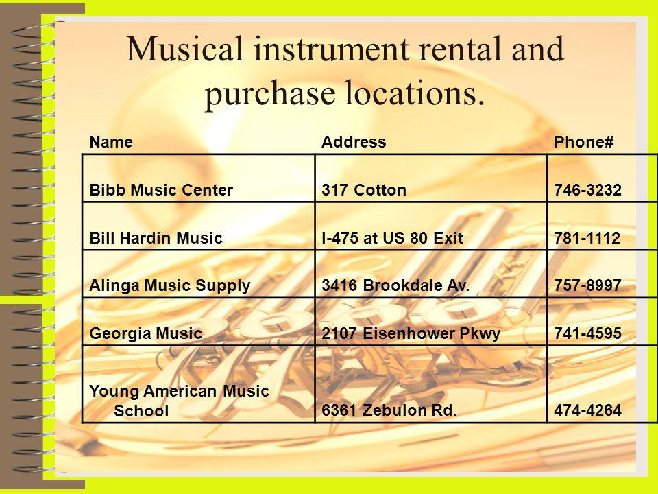 Musical instrument rental and purchase locations.