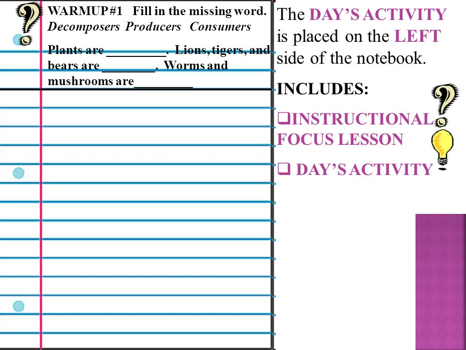 The DAYS ACTIVITY is placed on the LEFT side of the notebook.