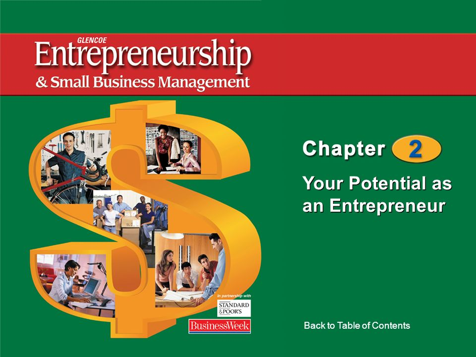 Your Potential as an Entrepreneur Back to Table of Contents