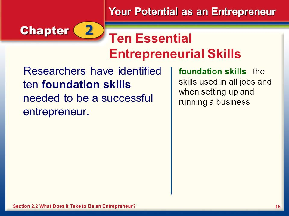 Your Potential as an Entrepreneur 15 Ten Essential Entrepreneurial Skills Researchers have identified ten foundation skills needed to be a successful entrepreneur.