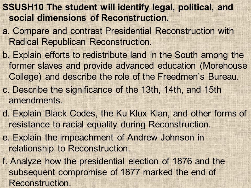 Reforms of Reconstruction Education: –Emphasized in black community –Public, segregated schools created –Higher Education: Ex.