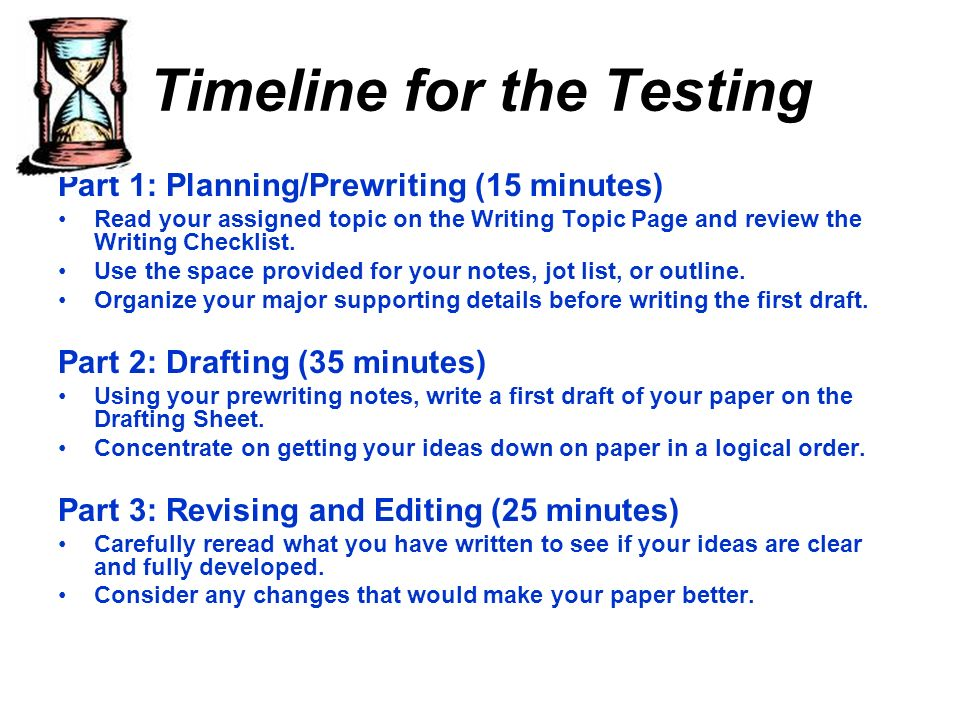 Timeline for the Testing Part 1: Planning/Prewriting (15 minutes) Read your assigned topic on the Writing Topic Page and review the Writing Checklist.