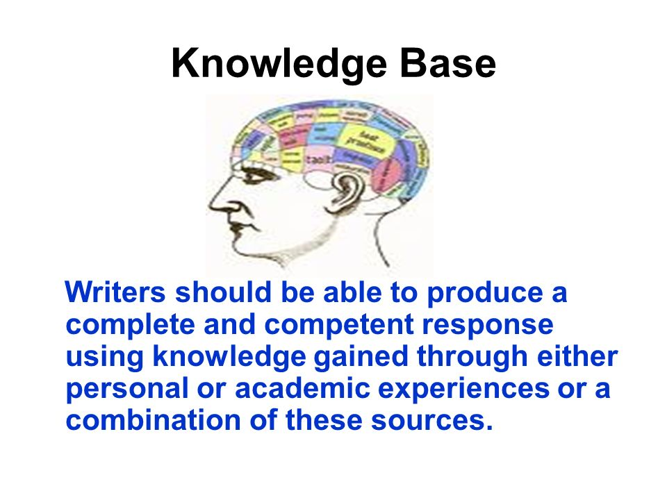 Knowledge Base Writers should be able to produce a complete and competent response using knowledge gained through either personal or academic experiences or a combination of these sources.