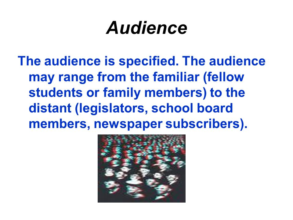 Audience The audience is specified.
