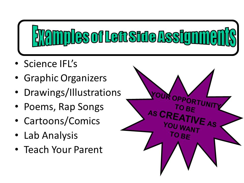 Science IFLs Graphic Organizers Drawings/Illustrations Poems, Rap Songs Cartoons/Comics Lab Analysis Teach Your Parent YOUR OPPORTUNITY TO BE AS CREAT