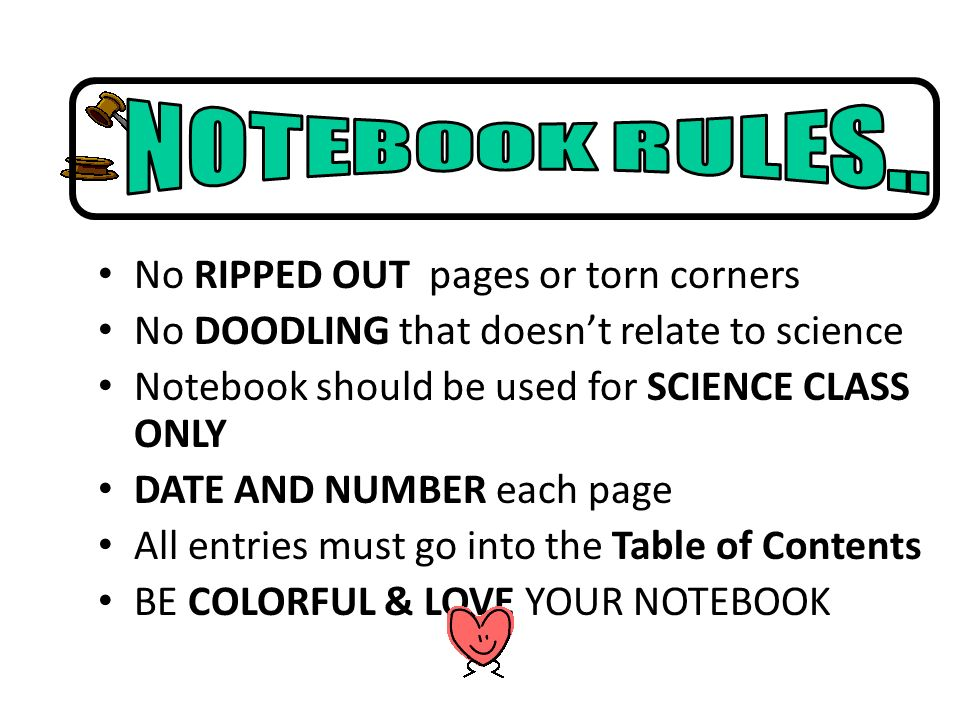 No RIPPED OUT pages or torn corners No DOODLING that doesnt relate to science Notebook should be used for SCIENCE CLASS ONLY DATE AND NUMBER each page