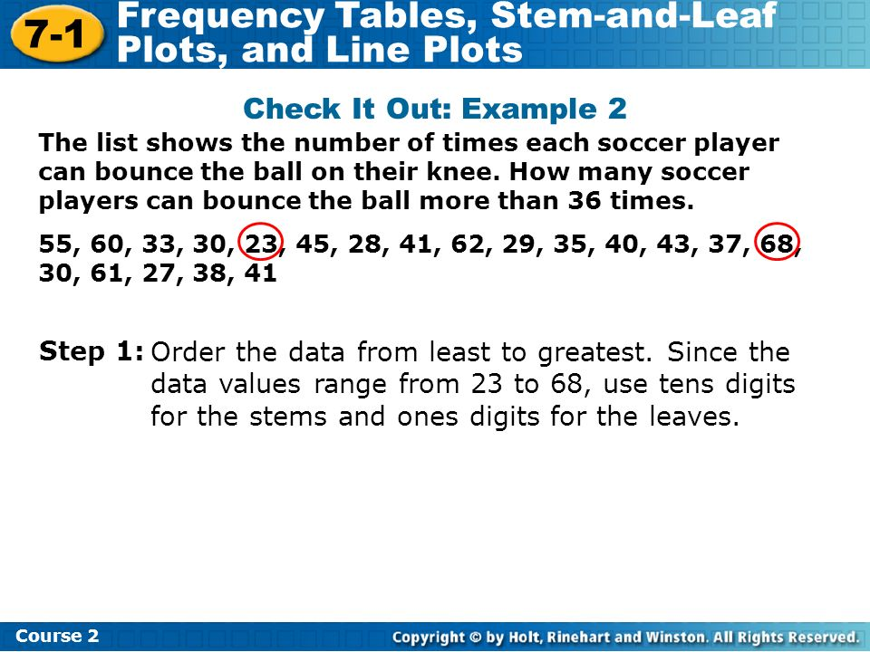 7-1 Frequency Tables, Stem-and-Leaf Plots, and Line Plots Course 2 The list shows the number of times each soccer player can bounce the ball on their