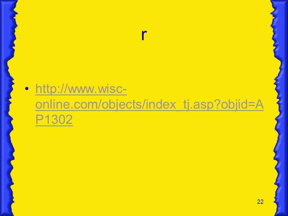22 r http://www.wisc- online.com/objects/index_tj.asp?objid=A P1302http://www.wisc- online.com/objects/index_tj.asp?objid=A P1302