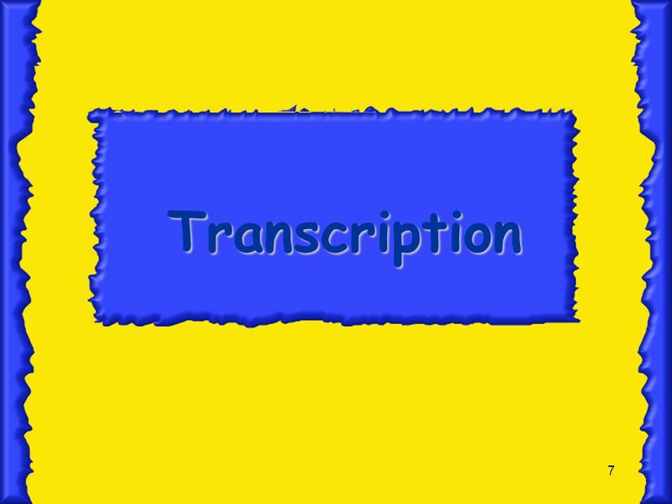 8 Transcription In nucleus In nucleus DNA the template for mRNA DNA the template for mRNA RNA polymerase makes the mRNA RNA polymerase makes the mRNA