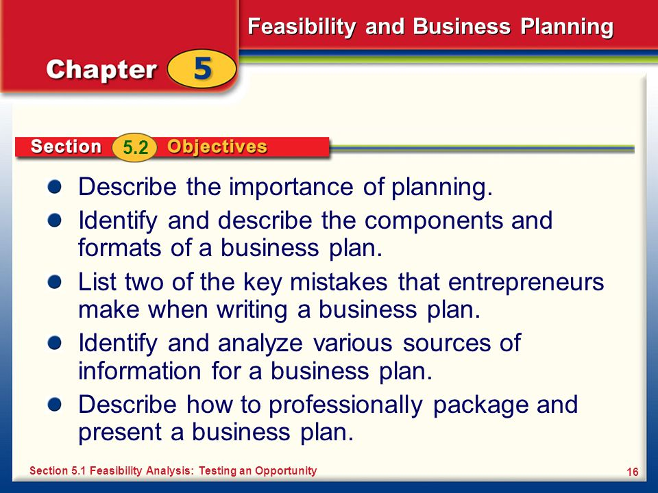 Feasibility and Business Planning 16 Describe the importance of planning. Identify and describe the components and formats of a business plan. List tw