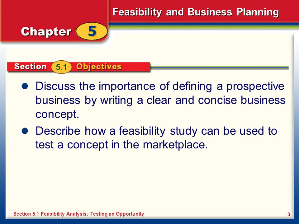 Feasibility and Business Planning 3 Discuss the importance of defining a prospective business by writing a clear and concise business concept. Describ