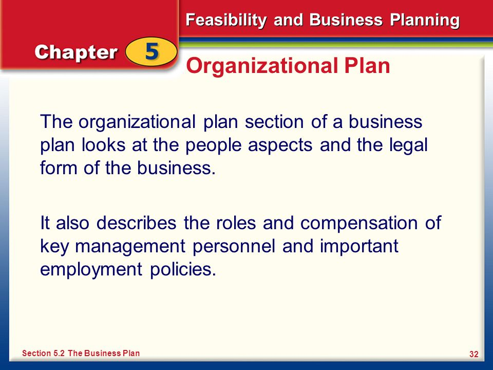 Feasibility and Business Planning 32 Organizational Plan The organizational plan section of a business plan looks at the people aspects and the legal